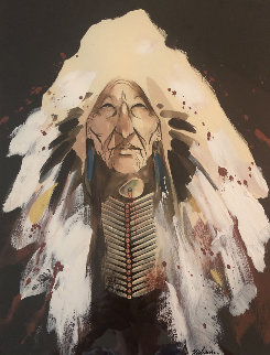 Untitled (Portrait of a Cherokee Indian Chief)  22x18 Original Painting - Bert Seabourn