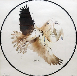 Untitled (Portrait of a Woman with Hawk) Limited Edition Print - Bert Seabourn