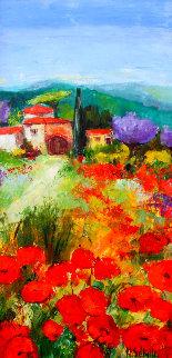 Le Mas Du Sud 2000 50x25 Original Painting - Nicole Sebille