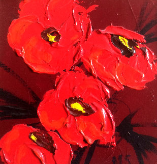 Le Bouquet Poppies 18x18 Original Painting - Nicole Sebille