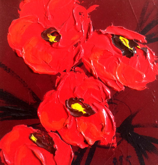Le Bouquet Poppies 18x18 Original Painting by Nicole Sebille
