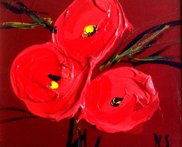 Bouquet Rouge Poppies 17x19 Original Painting by Nicole Sebille