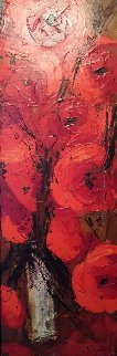 Le Vase Blanc 3 2008 62x22 Original Painting - Nicole Sebille