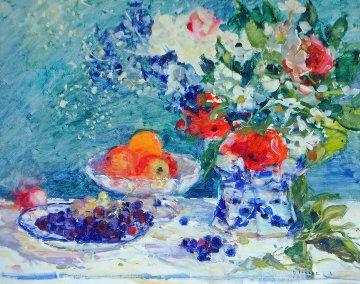Nature Morte Au Vase Bleu 1980 39x46 Original Painting - Gaston Sebire
