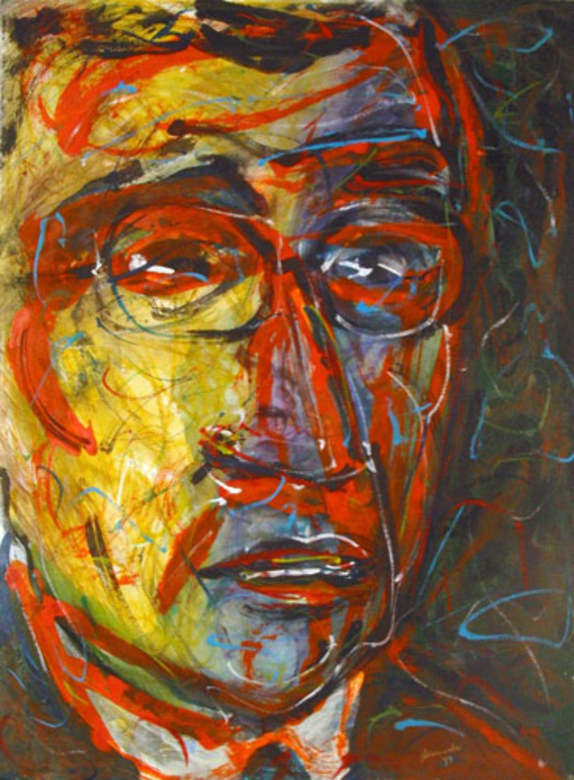 Jean Paul Sartre 1999 30x22 Works on Paper (not prints) by Arthur Secunda