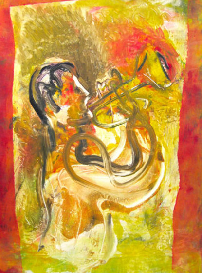 Chet Baker Monotype 2010 30x22 Works on Paper (not prints) by Arthur Secunda