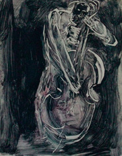 Thumping the Bass Fiddle Monotype 2008 30x22 Works on Paper (not prints) - Arthur Secunda