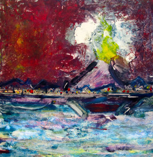 Etna Volcano Monotype 2008 30x23 Works on Paper (not prints) - Arthur Secunda