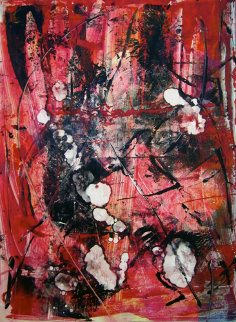 Pink Martini Monotype 30x22 Works on Paper (not prints) by Arthur Secunda