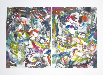Eco System Dyptych Monotype 2008 Works on Paper (not prints) by Arthur Secunda