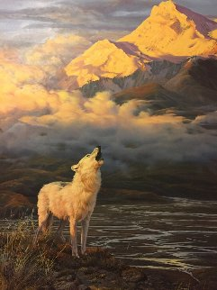 Alpine Glow Arctic Wolf 1986 54x36 Original Painting - John Seerey-Lester