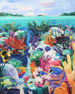 Underwater Majesty 1990 48x60 Huge Original Painting - Eileen Seitz