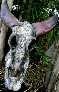 Buffalo Skull Unique Glass Sculpture 2010 18 in Sculpture - Ron Seivertson