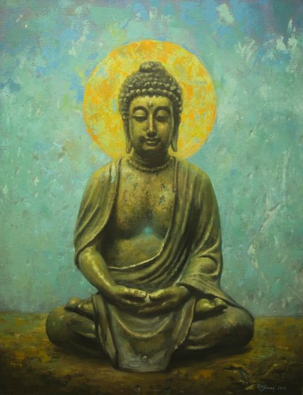 Buddha 2015 40x30 Original Painting by Robert Semans