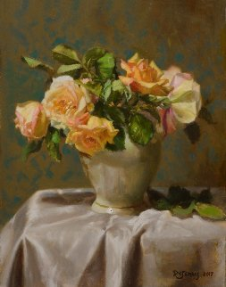 Lennox Vase With Roses 2017 18x14 Original Painting - Robert Semans