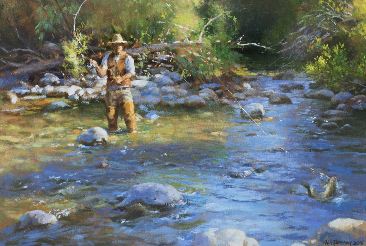 Fly Fisherman 2016 23x29 Original Painting by Robert Semans