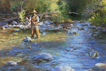 Fly Fisherman 2016 23x29 Original Painting - Robert Semans
