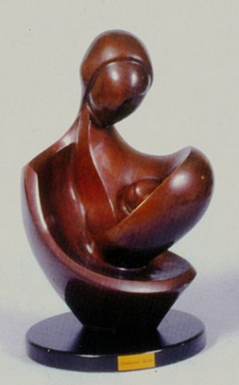 Newborn in Motherís Lap Bronze Sculpture 1995 14 in Sculpture by Moshe Sendowski