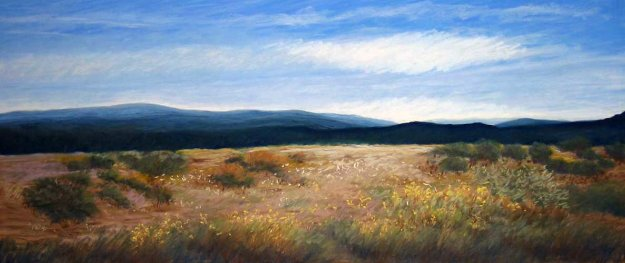 #534 Out West Watercolor 2006 23x41 Watercolor by Eileen Serwer