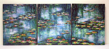 Giverny Revisited (Waterlily Pond Triptych) 2008 20x48 Huge Original Painting - Jane Seymour