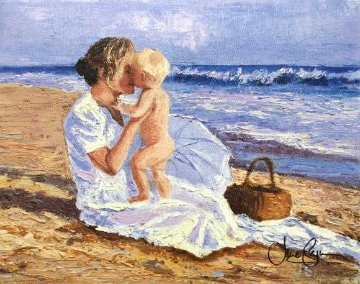 Mother And Child on the Beach Limited Edition Print - Jane Seymour
