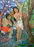 Two Bathers By Stream 1985 72x50 Original Painting by Manor  Shadian  - 1