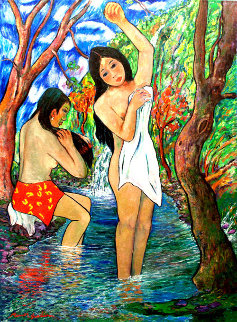 Two Bathers By Stream 1985 72x50 Original Painting by Manor  Shadian