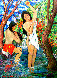 Two Bathers By Stream 1985 72x50 Original Painting by Manor  Shadian  - 0