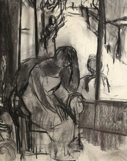 Untitled - Woman in Chair By Window 25x22 Drawing - Ben Shahn