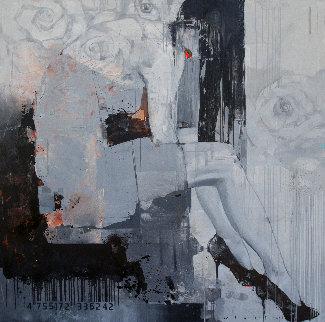 Ashen Flower 2018 59x59 Huge Original Painting - Victor Sheleg