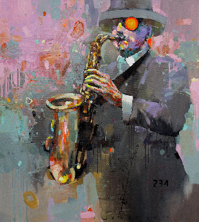 Sound Vibrations 2019 39x35 Original Painting by Victor Sheleg