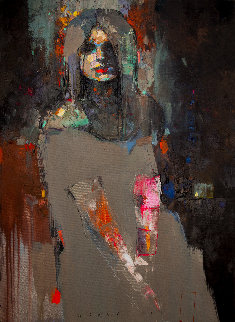 Night Flower 2019 39x28 Original Painting by Victor Sheleg