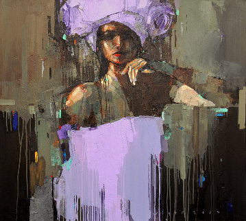 Violet Night 2019 35x39 Original Painting - Victor Sheleg