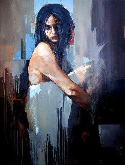 Quietness 2019 47x35 Original Painting - Victor Sheleg