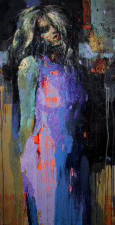 Ultramarine Dress 2019 47x24 Original Painting by Victor Sheleg