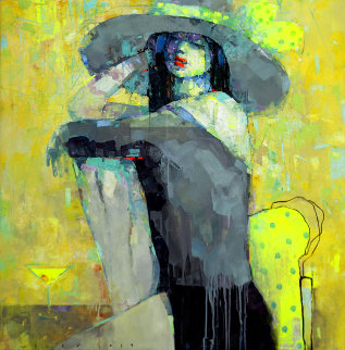 Martini Mood 2019 39x39 Original Painting by Victor Sheleg