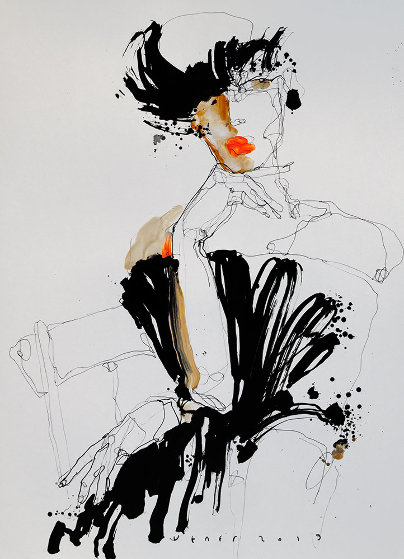 Lady 2  2019 25x18 Works on Paper (not prints) by Victor Sheleg