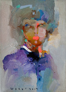 Portrait of a Young Girl 2019 13x9 Original Painting by Victor Sheleg