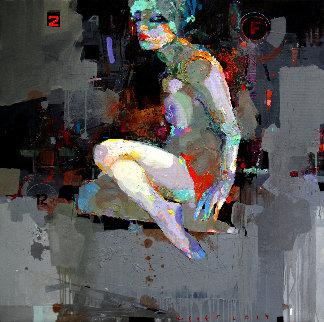 Birdie 2019 39x39 Original Painting by Victor Sheleg