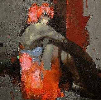 Bonfire Night 2019 39x39 Original Painting - Victor Sheleg
