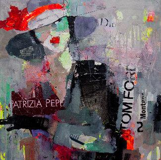 Hurrying Lady 2019  20x20 Original Painting - Victor Sheleg