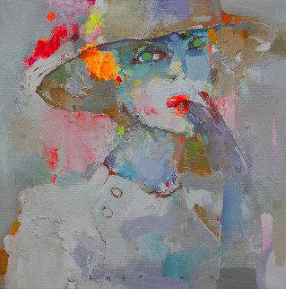 Green Eyed 2019 20x20 Original Painting - Victor Sheleg