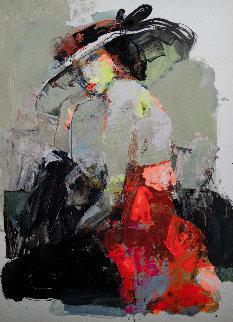 Lady 6 2019 27x19 Original Painting - Victor Sheleg