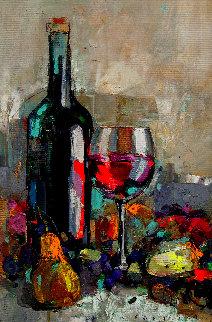 Wine, Cheese, Fruit 2020 31x23 Original Painting by Victor Sheleg