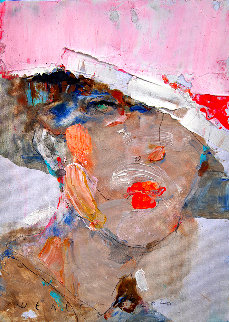 Pink Hat 2020 12x8 Original Painting - Victor Sheleg
