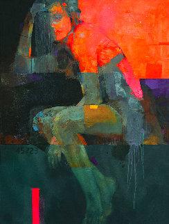 Heat 2020 47x35 Original Painting - Victor Sheleg