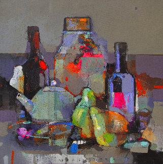 Evening Still Life 2020 23x23 Original Painting - Victor Sheleg
