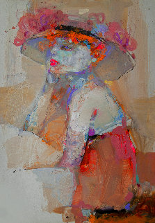 Bored Girl in Pink 2020 28x19 Original Painting - Victor Sheleg