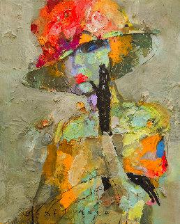 Pansies 2020 12x10 Original Painting - Victor Sheleg