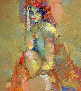 Lady With Garter 2020 39x35 Original Painting - Victor Sheleg